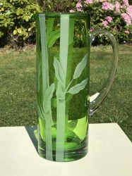 Bamboo Pitcher glass art by cynthia myers